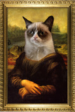Grumpy Cat Mona Lisa Plastic Sign Wall Sign