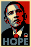 Barack Obama (Hope, Shepard Fairey Campaign) Plastic Sign Plastskilt