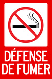Defense De Fumer French No Smoking Plastic Sign Plastic Sign