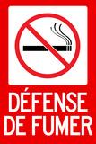 Defense De Fumer French No Smoking Plastic Sign Wall Sign
