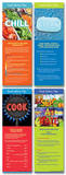 Food Safety (Four posters included) Laminated Educational Poster Set Prints