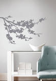 Gray Silhouette Blossom Branch Peel and Stick Wall Decals Wall Decal