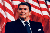 President Ronald Reagan (American Flag) Plastic Sign Plastskilt