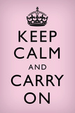 Keep Calm and Carry On (Motivational, Light Pink) Plastic Sign Znaki plastikowe
