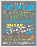 Gray Playroom Rules Plaque Oversized Wood Sign