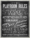 Black Playroom Rules Plaque Oversized Wood Sign