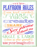 White Playroom Rules Plaque Oversized Wood Sign