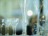 Close-up of Wine Glasses And Champagne Flutes, La Scene, Prague, Czech Republic Photographic Print by Green Light Collection