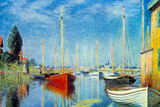 Claude Monet Pleasure Boats at Argenteuil Plastic Sign Plastic Sign by Claude Monet