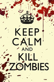 Keep Calm and Kill Zombies Humor Print Plastic Sign Plastic Sign