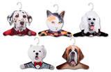 Dalmation, Poodle, Calico Cat, Westie, St. Bernard Animal Hanger 5 Pack Novelty