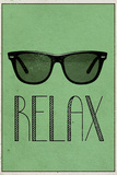Relax Retro Sunglasses Plastic Sign Wall Sign