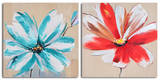 Teal and rouge flowers Posters