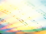 Musical Notes on String with Colored Background Photographic Print by Green Light Collection