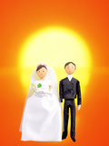 Digitally Generated Newlywed Couple with Sunset Background Photographic Print by Green Light Collection