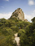 Walkers Near a Peak in the Dentelles, Near Gigondas, Provence, France Photographic Print by Green Light Collection