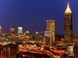 Buildings Lit Up at Night in a City, Atlanta, Georgia, USA Photographic Print by Green Light Collection