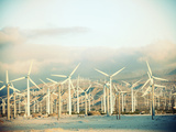 Wind Turbines with Mountains in the Background Photographic Print by Green Light Collection