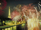 Fireworks Paris France Photographic Print by Green Light Collection