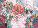 Close Up of Oriental Chrysanthemum Pattered Fabric on Dark Blue Background Photographic Print by Green Light Collection