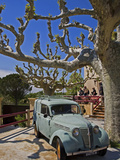 Classic Car at Restaurant, St-Panteleon-les-Vignes, Provence, France Photographic Print by Green Light Collection
