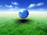Sphere Filled with Clouds Floating in Blue Sky And Clouds Over Green Grass Photographic Print by Green Light Collection