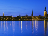Dome Cathedral And Daugava River at Dusk, Vecriga, Old Riga, Riga, Latvia Photographic Print by Green Light Collection