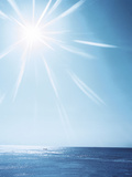 Sunshine Over Sea, Lens Flare, Blue Photographic Print by Green Light Collection