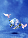 Two Doves Fly Around Clear Globe Hovering in Blue Space with Clouds Photographic Print by Green Light Collection