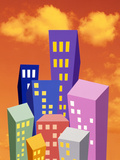 Multi Colored Abstract High Rise Buildings with Bright Orange Sky And Clouds Photographic Print by Green Light Collection