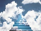 Staircase Into Cloudy Sky Photographic Print by Green Light Collection