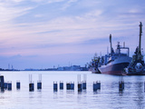 Commercial Port on the Curonian Lagoon at Dusk, Klaipeda, Lithuania Photographic Print by Green Light Collection