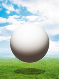 Earth Hovering Above Grassy Field Against Blue Sky And Clouds Photographic Print by Green Light Collection