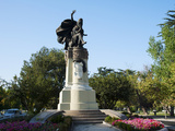 Statue in a Small Park at Plaza Ercilla, Santiago, Chile Photographic Print by Green Light Collection