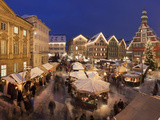 Christmas Market with the Old Town Hall at Dusk Photographic Print by Green Light Collection