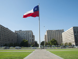 Large Chilean Flag Flying in Front of the Armed Forces Ministries, Santiago, Chile Photographic Print by Green Light Collection