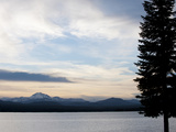 Lake at Sunset with Mountains in the Background, Mt Lassen, Lake Almanor, California, USA Photographic Print by Green Light Collection