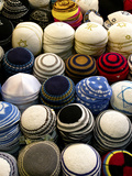 Yarmulkes for Sale at a Market Stall, Jerusalem, Israel Photographic Print by Green Light Collection