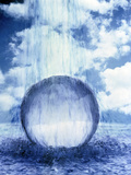 Water Raining Down on Crystal Sphere in Churning Water with Clouds Photographic Print by Green Light Collection