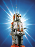 Close Up of Robot with Rays of Light on Blue Background Photographic Print by Green Light Collection
