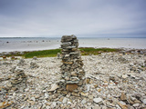 Cairns on Rocky Beach, Ohessaare, Sorve Peninsula, Saaremaa Island, Estonia Photographic Print by Green Light Collection