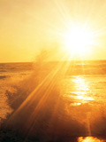 Sunshine Over Sea Waves, Lens Flare, Golden Photographic Print by Green Light Collection