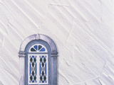 Medieval Window Frame with Textured White Plaster Background Photographic Print by Green Light Collection