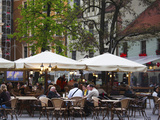 Tourists at a Sidewalk Cafe, Livu Laukums Square, Vecriga, Old Riga, Riga, Latvia Photographic Print by Green Light Collection