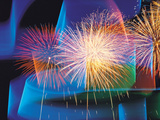 Fireworks with Digital Composite Background Photographic Print by Green Light Collection