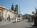 Tourists at Plaza De Armas, Santiago, Chile Photographic Print by Green Light Collection