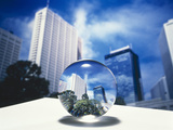 Close Up of Clear Globe with White Sky Line in Center Duplicated Background Photographic Print by Green Light Collection