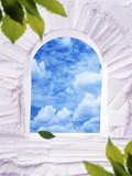 White Plaster Arched Window with Blue Sky And Clouds Greenery in the Corner Photographic Print by Green Light Collection