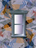 Grey Window Frame with Light Through Panes Floating on Collage of Fabric Photographic Print by Green Light Collection