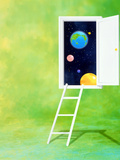 Open White Door with Spheres And White Ladder on Green Background Photographic Print by Green Light Collection